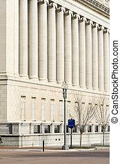 gebouw, washington dc, schatkist, facade, kolommen