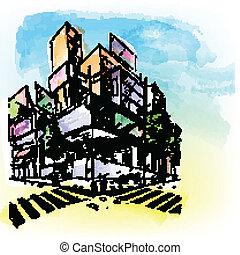 gebouw, watercolored