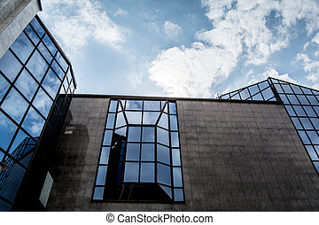 gebouw, weerspiegelde