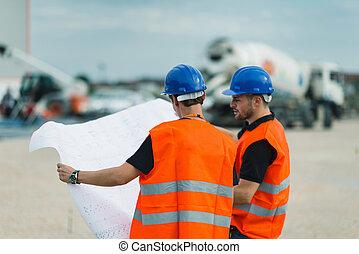 gebouw, werkmannen , bouwsector, plannen