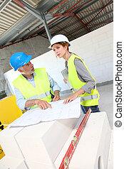 gebouw, werkmannen , bouwsector, vergadering, bouwterrein