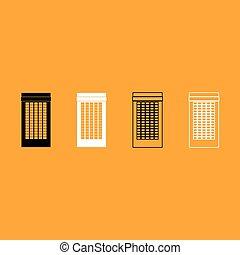 gebouw, witte , set, black , icon.