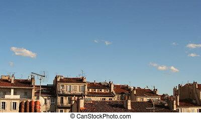 gebouw, wolken, hemel, bovenkanten, frankrijk, marseille, ...