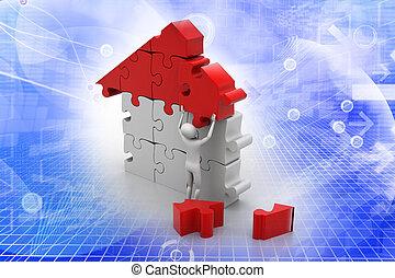 gebouw, woning, man, 3d