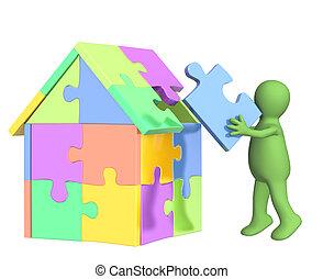 gebouw, woning, marionet, 3d