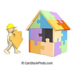 gebouw, woning, marionet, werkende , 3d