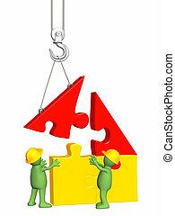 gebouw, woning, marionetten, werkende , 3d