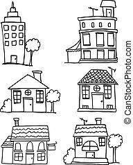 gebouw, woning, set, doodle
