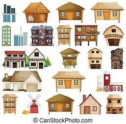 gebouw, woning, set, gevarieerd