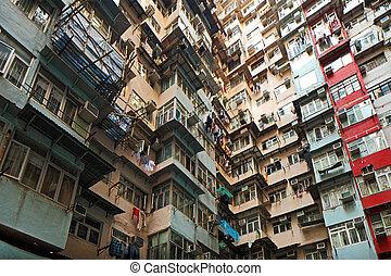gebouw, woongebied, hong kong