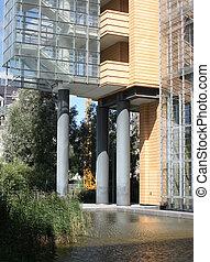 gebouw, woongebied, of, kantoor