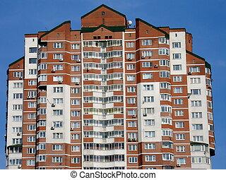 gebouw, woongebied, rood