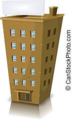 gebouw, woongebied, spotprent