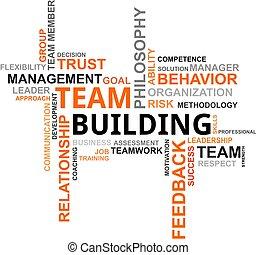 gebouw, woord, -, wolk, team