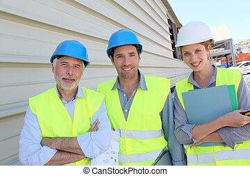 gebouw, workteam, bouwterrein