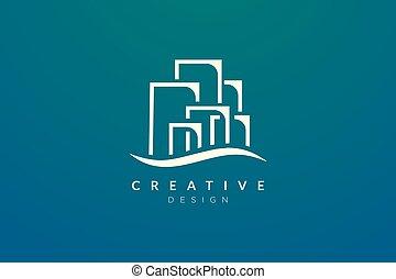 gebouw, zakelijk, eenvoudig, logo, design., vector, moderne, of, plat, stad, minimalist, jouw, product., merk, ontwerp