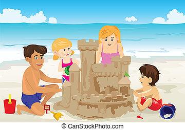 gebouw, zandkasteel, gezin