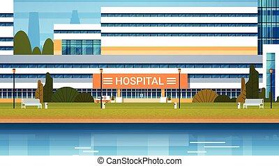 gebouw, ziekenhuis, moderne, kliniek, buitenmening