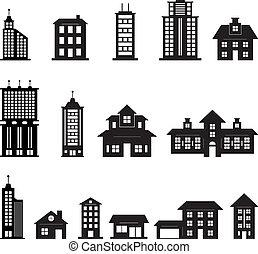 gebouw, zwart wit, set, 3