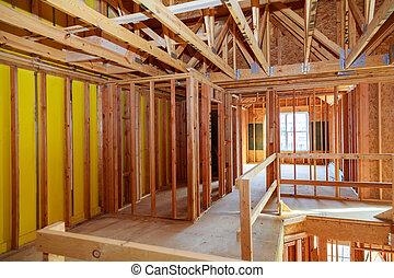 gebouwde, in aanbouw, stok, nieuw huis