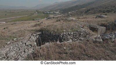 gebouwde, tijdperk, militair, beton, bunker, albanië, ruïnes...