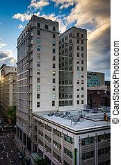 gebouwen, aanzichten, els, oregon., portland, straat