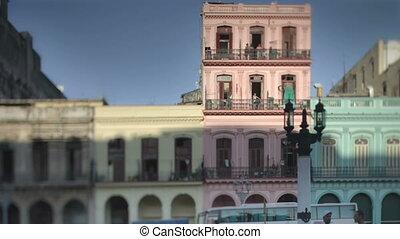 gebouwen, avond, havanna, cuba, timelapse, op, rennende , ...