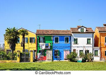 gebouwen, complementair, geverfde, vibrant, daglicht, aanzicht