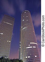 gebouwen, deel, tel-aviv, op grote hoogte, zakelijk