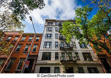 gebouwen, flat, chelsea, york., nieuw, manhattan