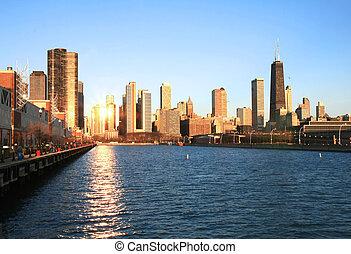 gebouwen, high-rise, chicago