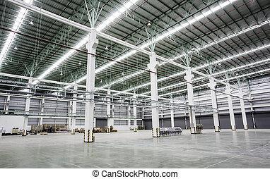gebouwen, intern, fabriek