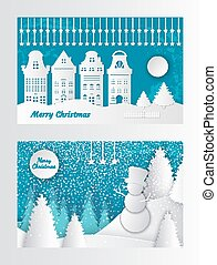 gebouwen, knippen, woning, papier, zalige kerst, kaart