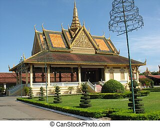gebouwen, koninklijk, penh, phnom, park