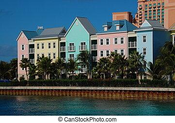 gebouwen, op, paradijs eiland, bahamas