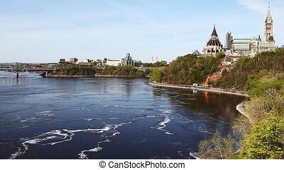 gebouwen, parlement, canada's, ottawa, langs, rivier