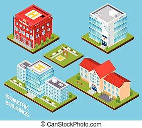 gebouwen, set, regering