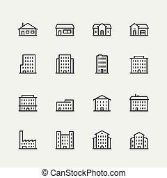 gebouwen, set, stijl, vector, dune lijn, pictogram