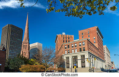 gebouwen, usa, -, downtown, ny, buffel
