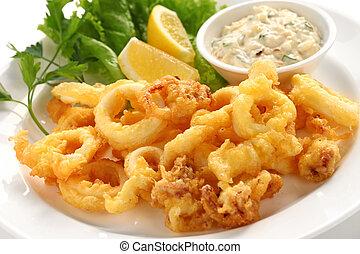 gebraden, calamari