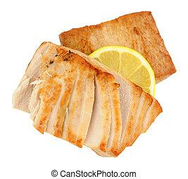 gebraden, gele vin, tonijn, biefstukken