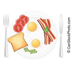 gebraden, roosteren, eitjes, spek
