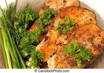 gebraden, salmon, eetlustopwekkend