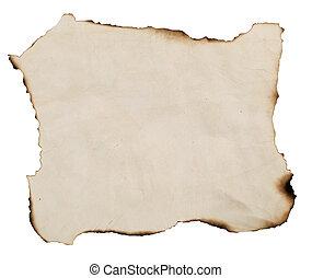 gebrande, papier, oud