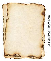 gebrande, randen, oud, stapel, papieren