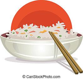 gebratener reis, mit, asiatisch, eßstäbchen