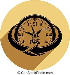 gebrauch, symbol, zeit, idee, freigestellt, stunden, rennender , vektor, weißes, advertising., icon., twenty-four, tag