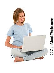 gebrauchend, jugendlich, laptop, m�dchen