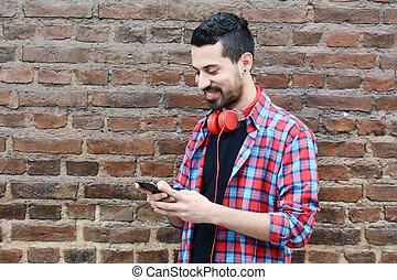 gebrauchend, junger, smartphone., mann
