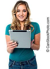 gebrauchend, modell, weibliche , tablette pc